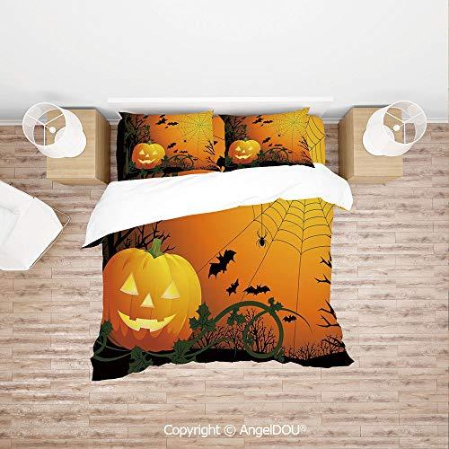 PUTIEN 4 Pieces (1 Duvet Cover +1 Sheet+ 2 Pillow Shams) Home Bedding Sets Duvet Cover Sets,Halloween Themed Composition with Pumpkin Leaves Trees Web and Bats Decorative,with Hidden Zipper Closure.]()