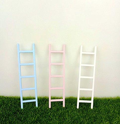 3 Pcs 5Inch MiniaturesCheap Tiny Fairy Door Ladder for Bedroom Wooden Fairy Door Has Pink,Blue and White Accessories for Fairy Door - Tiny Door