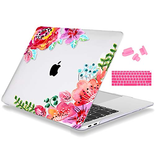 Mektron MacBook Air 13 Inch Case 2018 Release A1932, Print Plastic Hard Shell Cover and Keyboard Cover Dust Plug for Apple MacBook Air 13