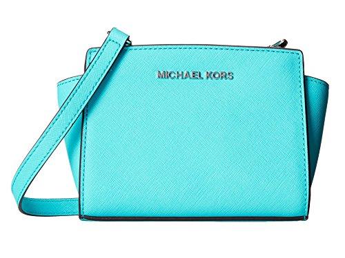 MICHAEL Michael Kors Selma Saffiano Leather Mini Messenger (Aquamarine)