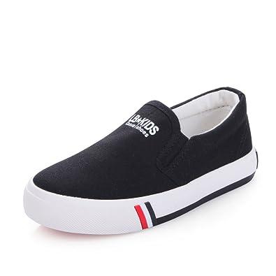 85a3b4c3a81865 O N Kids Boys Girls Classic Canvas Slip-On Skate Shoe Sneakers Black