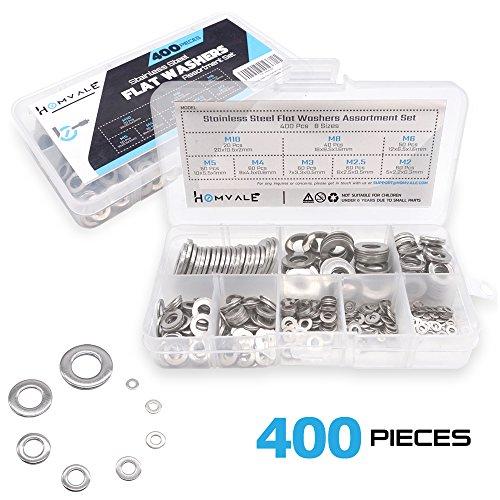 304 Stainless Steel Flat Washers Set 400 pcs, 8 Size - M2 M2.5 M3 M4 M5 M6 M8 M10