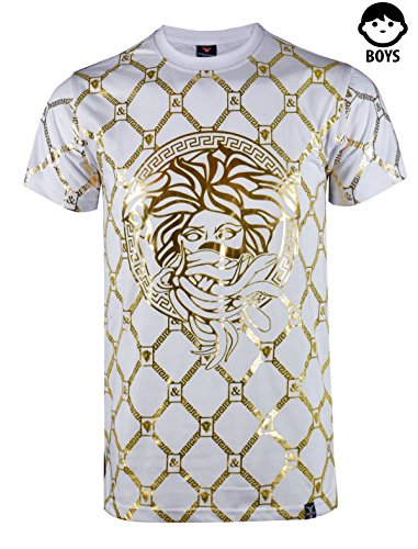 SCREENSHOTBRAND-S11821BY Boys Hipster Hip-Hop Premiun Tees - Stylish Latest Fashion T-Shirts - Medusa Foil-White-Small