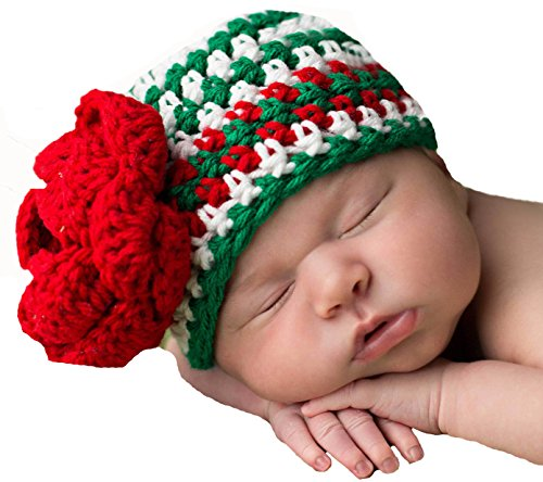 Melonidpity's Pretty Poinsettia Striped Baby Girl Hat (0-6 months) -