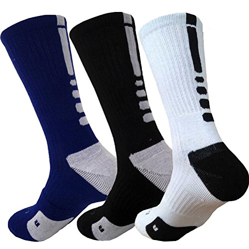 YZKKE 3 Pack Men's Mixed Color Cushioned Basketball Dri-Fit Athletic Sports Crew Socks ()
