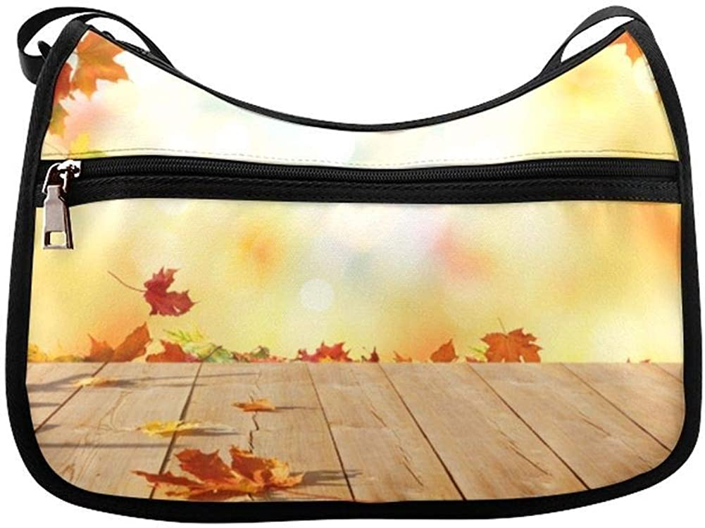Autumn And Bright Yellow Leaves Messenger Bag Crossbody Bag Large Durable Shoulder School Or Business Bag Oxford Fabric For Mens Womens
