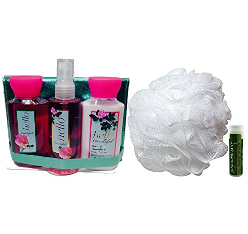 HELLO BEAUTIFUL Bath & Body Works Gift Set of Mini Travel Fine Fragrance Mist, Body Lotion, Shower Gel, Shower Puff & Decorative Case with a Jarosa Bee Organic Peppermint Lip (Bath Set Case)