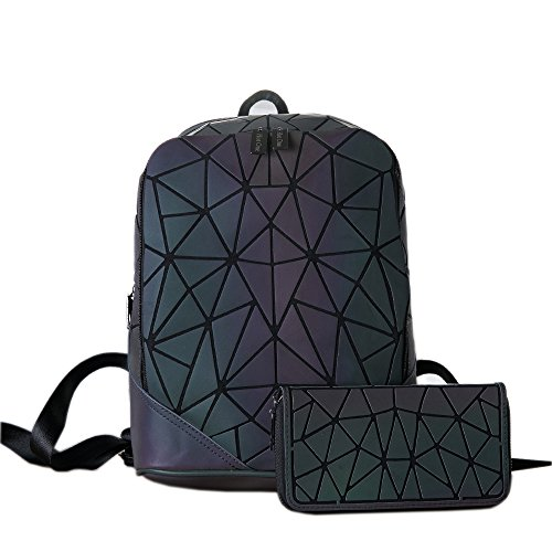 amp; no Holographic Set 2 Wallet Hotone Daypack Set Purses No Luminous 2 Geometric Backpack And gnB0zq