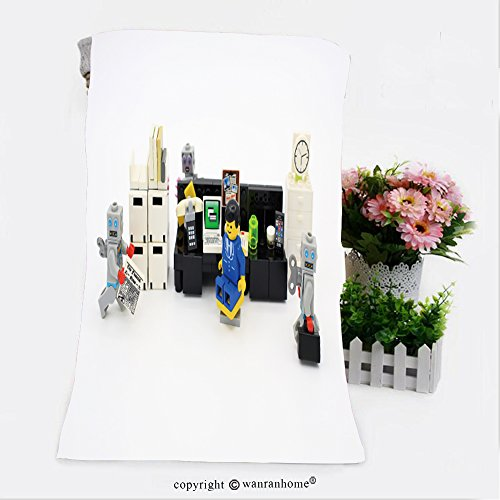 Pendelton Mini (VROSELV Cotton Microfiber Bathroom Bath Towel-hong kong feb office boy and robot mini characters from different genation which are isolated Custom pattern of household products(27.6