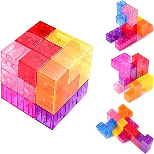 Rainbrace Kids Magnet Toys Magnetic Blocks Set, Imagination Magnets Tiles Magnetic Building Blocks, Preschool Educational Construction Toys Magnetic Cube Puzzle for Toddlers Boys Girls 7 PCS ()