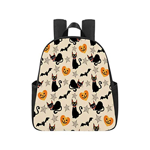INTERESTPRINT Black Cat and Halloween Symbols School Backpacks Student Backpack