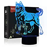NChance Dog Christmas Birthday Gift Magic Lighting 3D Illusion 7 Colors Touch Switch USB Insert Kids LED Lamp Present and Party Decoration