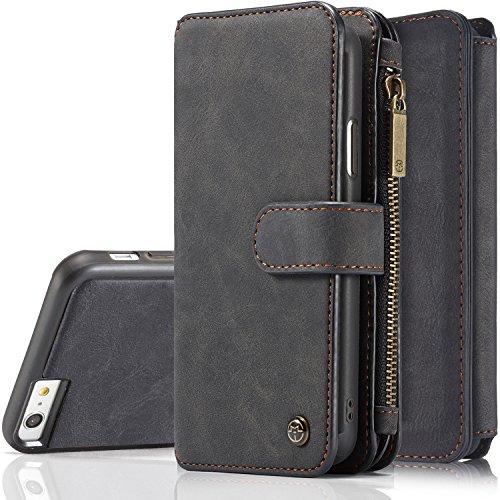 iPhone 6S Plus Magnetic DetachableCase, XRPow Premium Back Cover Slim Leather Folio Wallet Holder Case for Apple iPhone 6 Plus /6s Plus 5.5inch BLACK