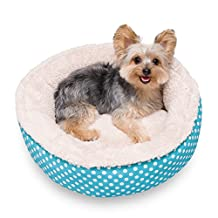 """Stinky G Blue Polka Round Dog Bed Small 18"""" D x 6"""" H"""