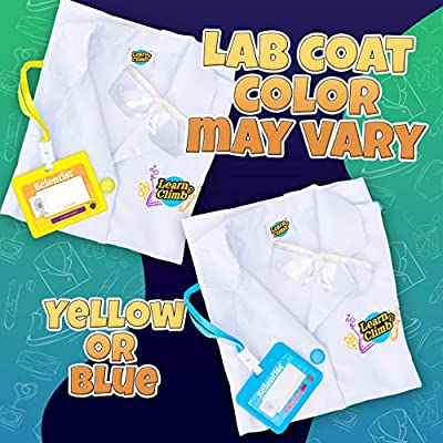 Learn & Climb Kids Science Kit with Lab Coat - Over 20 Science Experiments. Ages 4+ ( Lab Coat Color May Vary): Toys & Games