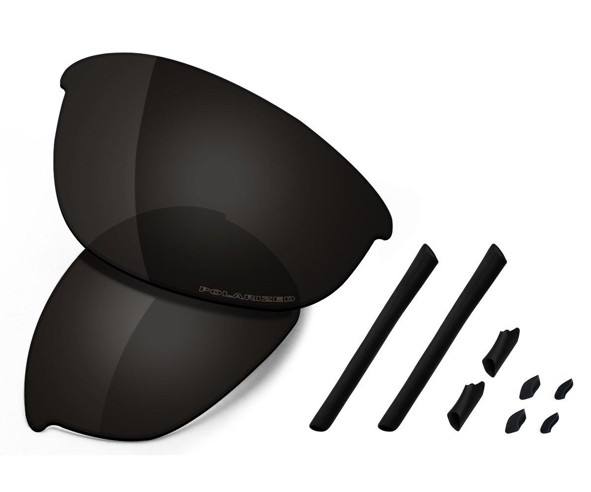 Saucer Premium Replacement Lenses & Rubber Kits for Oakley Half Jacket Sunglasses High Defense - Carbon Black Polarized
