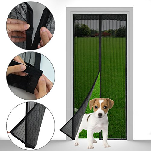 "Magnetic Screen Door – Yookat Full Frame Velcro, Magnets Snap Shut Automatically, Fits Door Size Up to 34"" x 82"" Heavy Duty Reinforced Mesh Curtain Ultra Seal Super Fine Fly Mesh (Black) (With Fireplaces Patios In Screened)"