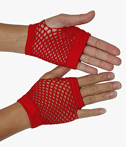 Be Wicked Women's Wrist Length Fingerless Fishnet Gloves, Red, One Size
