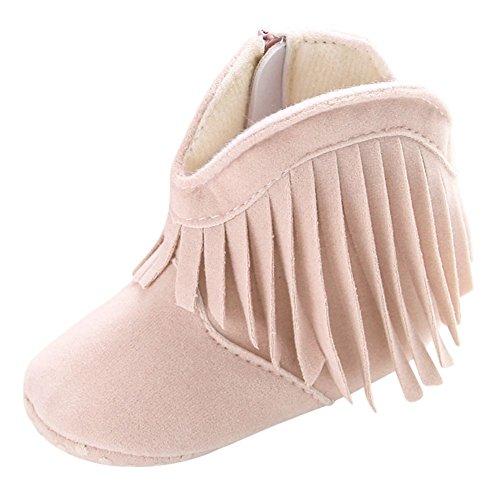 Weixinbuy Baby Girl's Tassel Soft Bottom Non-Slip Cowboy Boots Toddler Shoes Off White