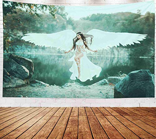 Fantasy Wall Hanging Tapestry,Art Tapestry,Musesh Tapestries Wall Hanging for Bedroom Living Room Decor Inhouse 80x60 Inches Size A Beautiful White Archangel Descended From Heaven A Girl In A Sexy Sui]()