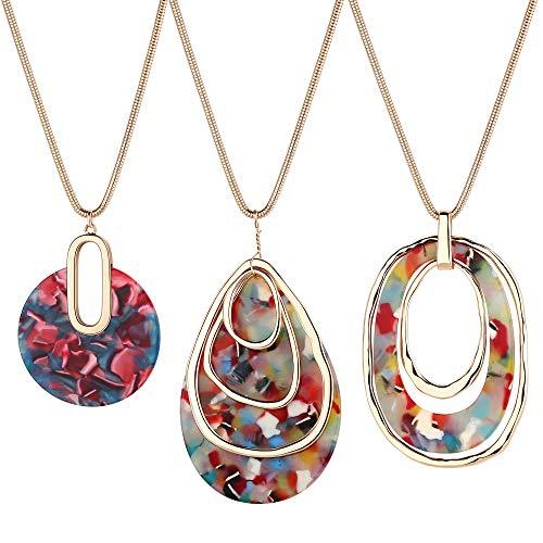 Finrezio 3 Pcs Long Pendant Necklaces for Women Boho Acrylic Statement Resin Teardrop Necklace Set