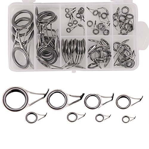 FREE FISHER 80 X Fishing Rod Tips Tops Parts Stainless Steel DIY Set Kits 8 Sizes