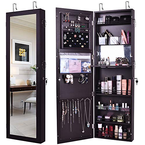 GISSAR Jewelry Mirror Armoire Wall Mount Over The Door, Mirror Jewelry Cabinet -