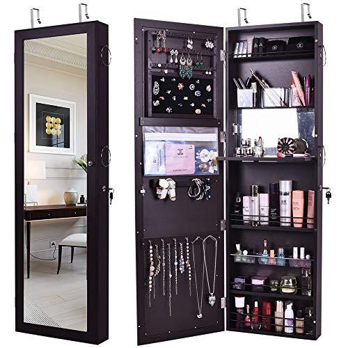GISSAR Jewelry Mirror Armoire Wall Mount Over The Door, Mirror Jewelry Cabinet Storage Organizer Locking (Brown)