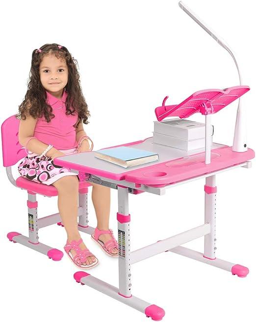 Ejoyous Liusing – Juego de mesa y mesa de escritorio infantil (regulable en altura, para niños de 3 a 12 años, con lámpara LED para silla): Amazon.es: Juguetes y juegos