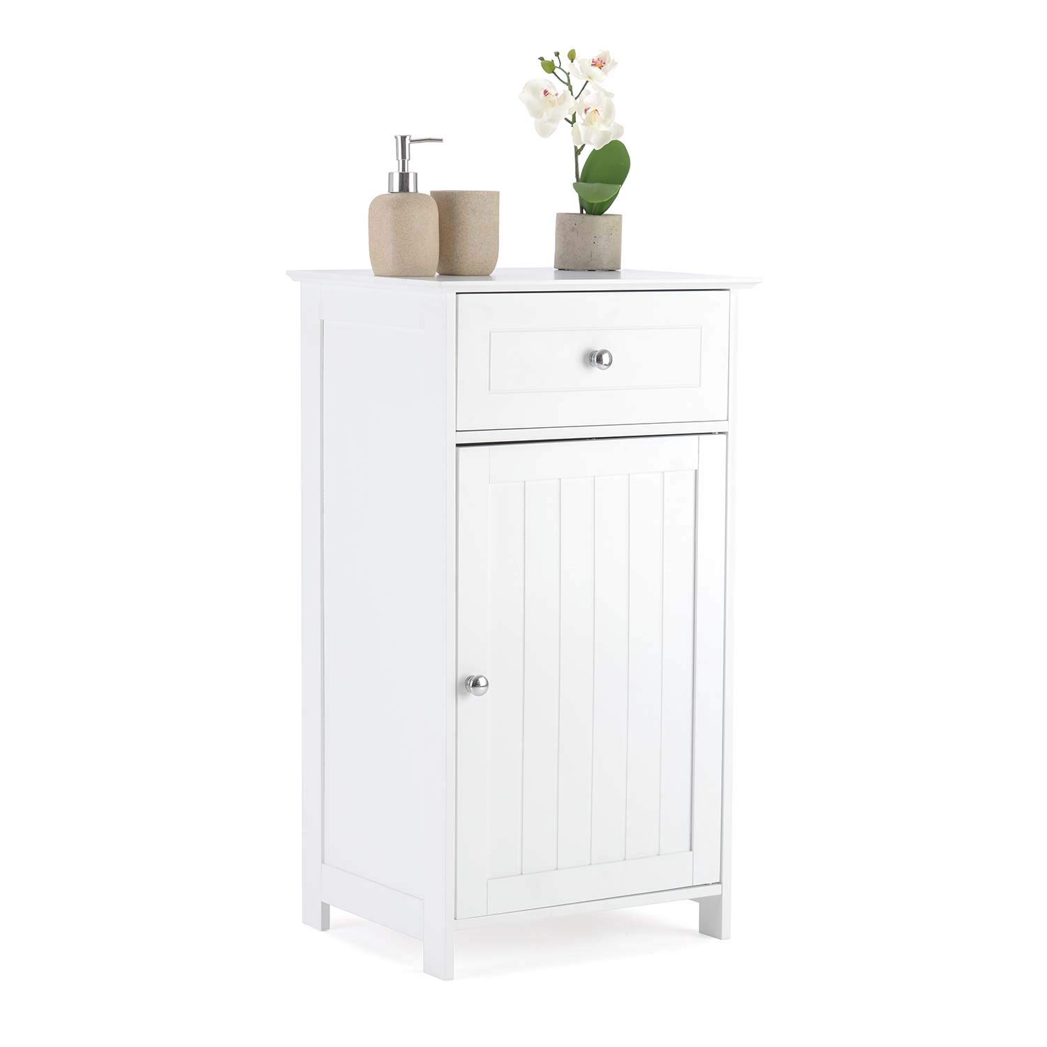 Christow Bathroom Drawer Cabinet Wooden White Single Door Storage Cupboard Unit