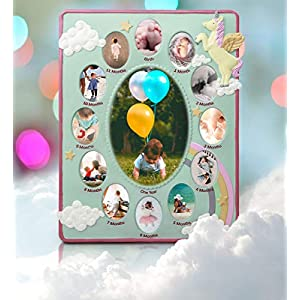Mozlly Mint Green Unicorn Baby First Year Collage Photo Frame Standard 4 X 6 Inch Photo at The Center Nursery Room Decor Mythical Fantasy Creature Picture Frame for Baby Girls from Birth to 1 Year