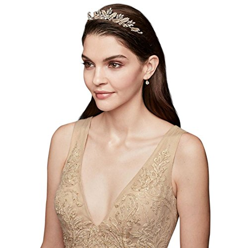 Handwired Gilded Sprigs Crystal Tiara Style T8153, Gold