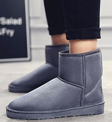 Mens IDIFU High Boots Unisex Lined Flat Gray Booties Winter Snow Fleece Solid Womens Ankle ZZ5qH