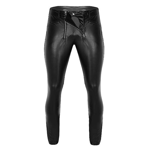 4287d3290153b Freebily Men's Wet Look Faux Leather Tight Pants Zipper Pouch Legging  Trousers Black: Amazon.co.uk: Clothing