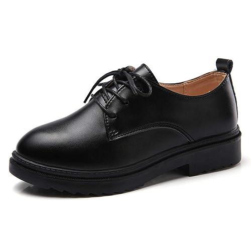 Las Mujeres Oxford Zapato Mocasines OtoñO Lace Up Round Toe Tacones Bajos para Mujer Casual Zapatos De Barco Plano: Amazon.es: Zapatos y complementos