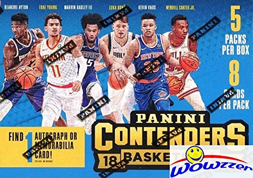(2018/19 Panini Contenders NBA Basketball EXCLUSIVE Factory Sealed Retail Box with AUTOGRAPH or MEMORABILIA Card! Look for Rookies & Autos of Luka Doncic, Deandre Ayton,Kevin Knox & More!)