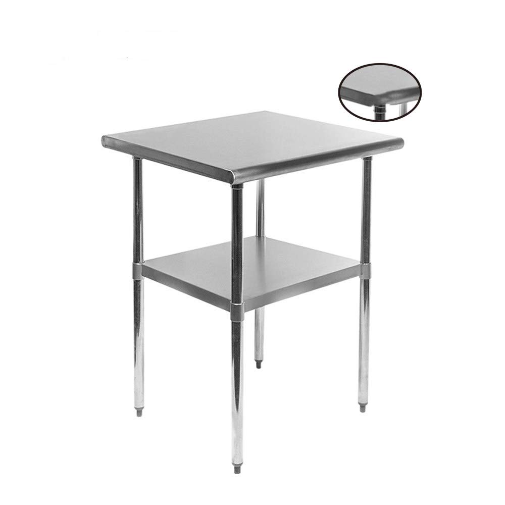 MYOYAY Stainless Steel Work Table 36x24in Commercial Grade Kitchen Metal Worktable with Under Shelf Heavy Duty Food Prep Workbench for Home Restaurant