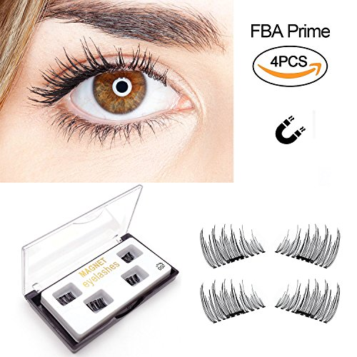 b4c2c32bbe7 False Magnetic Eyelashes by Fstyle,Reusable Fake Eyelashes Natural Look,Eye  lashes Extension Ultra Thin Fiber No Glue Allergy,Cruelty Free,1 Pair 4  Pieces ...