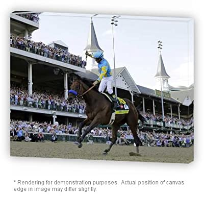 Premium Gallery Thick Canvas Wrap American Pharaoh 2015 Triple Crown Winner Wins The Kentucky Derby