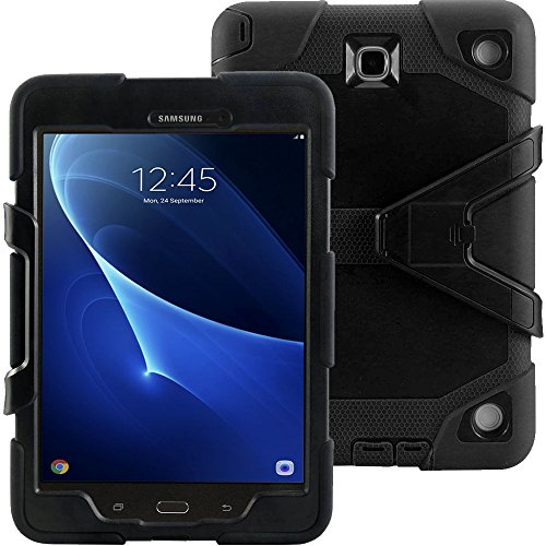 - Galaxy Tab A 9.7 Case KIQ TM Full-Body Shock Proof Hybrid Heavy Duty Armor Protective Case for Samsung Galaxy Tab A 9.7 [SM-T550] with Kickstand and Screen Protector (Rugged Black)