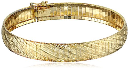 18kt Gold Over Sterling Silver Diamond Cut Italian Textured Bracelet
