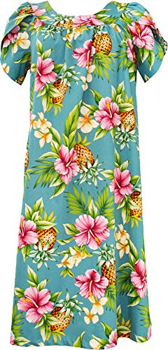 RJC Women's Pineapple Paradise Tea Length Hawaiian Muumuu House Dress Blue XL