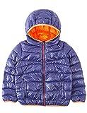 Spring&Gege Boys Lightweight Packable Hooded Puffer Down Jacket Unisex Kids Warm Outdoor Windproof Outerwear Coat Size 11-12 Years Navy Blue/Orange