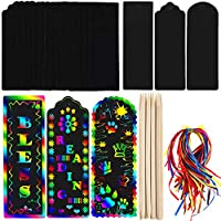 Honoson 75 Sets Scratch Bookmarks Paper Scratch Rainbow Paper DIY Gift Tags with Colorful Rope and Wood Stylus for Party and Craft Supplies (Style Set 1)