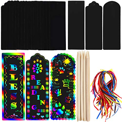 Honoson 75 Sets Scratch Bookmarks Paper Scratch Rainbow Paper DIY Gift Tags with Colorful Rope and Wood Stylus for Party and Craft Supplies (Style Set - Party Kit Craft