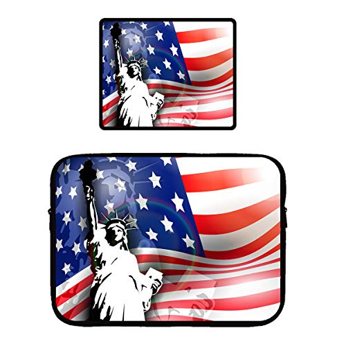 Water Resistant Tablet Sleeves Compatible for 13/15 inch Ultrabook/Chromebook Protective Computer Pouch Bag + Non-Slip Base Gaming Mouse Pad (Statue of Liberty American Flag Patriotic)