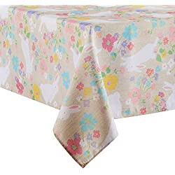 Easter Bunny Spring Floral Print Fabric Tablecloth (60 x 84 Rectangle/Oblong)