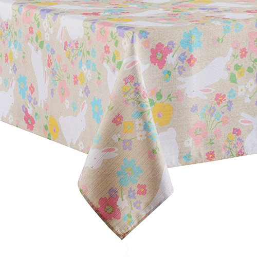 Easter Bunny Spring Floral Print Fabric Tablecloth (60 x 120 Rectangle/Oblong) (Fabric Floral Tablecloth)