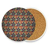 Coasters for Drinks,Artistic Flowers Ceramic Round Cork Trivet Heat Resistant Hot Pads Table Cup Mat Coaster-Set of 4 Pieces
