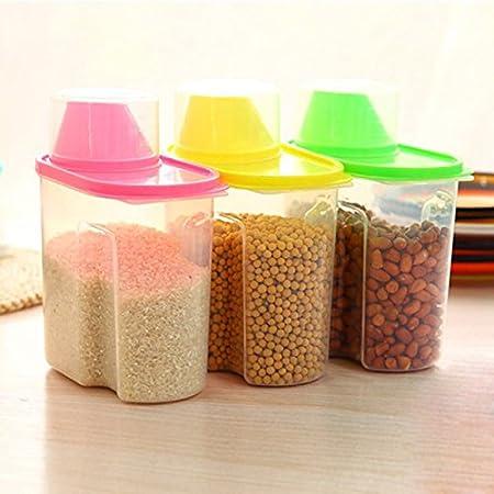 1 recipiente de almacenamiento para cereales – mantiene los alimentos secos – ideal para harina, azúcar y más – dispensador, 1,9 L, plástico, azul, 21x16x8cm azúcar y más - dispensador plástico BaconiXfF